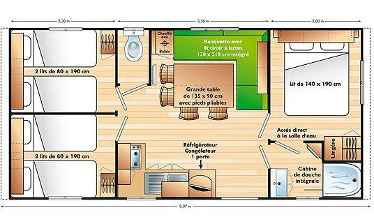 Chalet basic 6 personen met 3 slaapkamers - chalet basic 6 pers. plattegrond